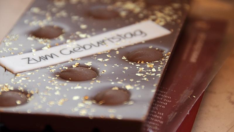 chocri persönliche individuelle Schokolade Geburtstag essbares Gold